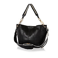 White black split leather-look slouchy bag