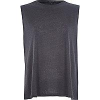 Dark grey split back tank top
