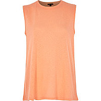 Coral split back tank top