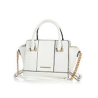 White quilted winged chain detail mini bag