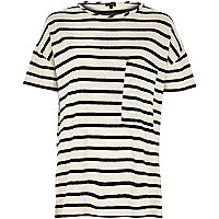Cream stripe oversized pocket t-shirt