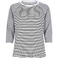 Navy stripe contrast raglan sleeve t-shirt