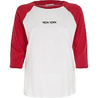 Pink raglan sleeve New York top