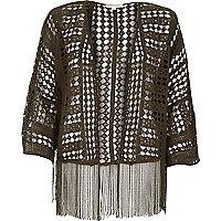 Khaki boxy crochet fringed kimono