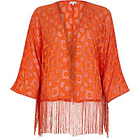 Orange satin cropped boxy fringed cape