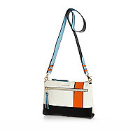 White sporty colourblock cross body bag