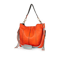 Orange and grey slouch bag