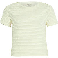 Cream fitted ruffle short sleeve t-shirt