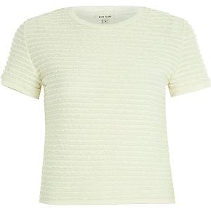 Cream fitted ruffle short sleeve t-shirt