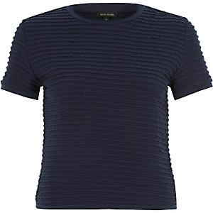 Navy blue fitted ruffle short sleeve t-shirt