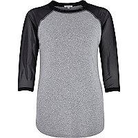 Grey contrast mesh raglan sleeve t-shirt