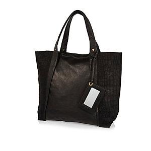 Black leather croc panel tote handbag