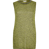 Lime marl sleeveless embellished neck top