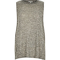 Grey marl sleeveless embellished neck top