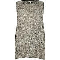 Grey marl sleeveless embellished neck top