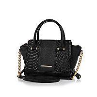 Black winged chain detail handbag