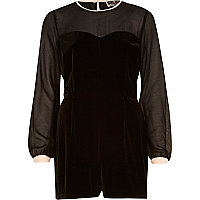 Black Chelsea Girl velvet sheer playsuit
