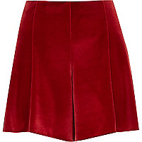 Red velvet high waisted shorts