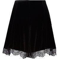 Black velvet lace trim high waisted shorts