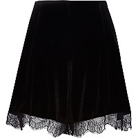 Black velvet lace trim high waisted shorts