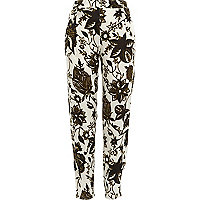 White floral printed trousers