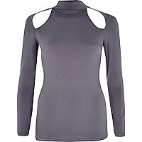 Grey cut out turtle neck top