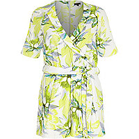 Yellow floral print wrap front playsuit