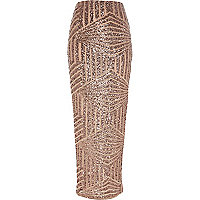 Bronze sequin maxi skirt