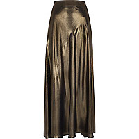 Gold metallic maxi skirt