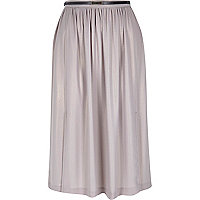 Light pink metallic split midi skirt