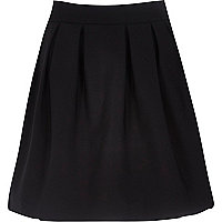 Black stretch pleated high waisted skirt