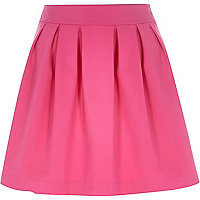 Pink stretch pleated high waisted skirt