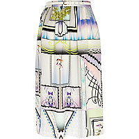 Purple print soft woven midi skirt