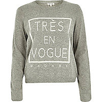 Grey tres en vogue knitted jumper
