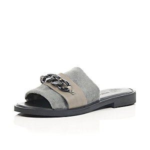 Grey suede-look chain flat sandals