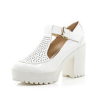 White chunky perforated T bar platform shoes