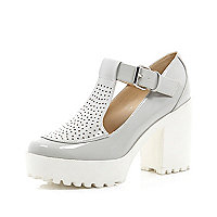 Grey chunky perforated T bar platform shoes