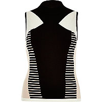 Black and white block print knitted polo top