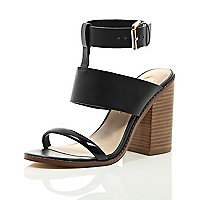 Black three strap mid heel sandals