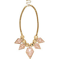 Gold tone pink flecked statement necklace