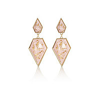 Gold tone pink flecked stone dangle earrings