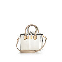 White mini boxy bowler bag