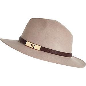 Pink metal trim fedora hat