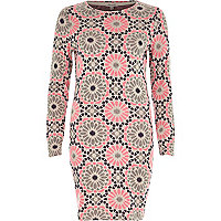 Pink printed bodycon knitted dress