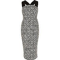 Black wide strap graphic print bodycon dress