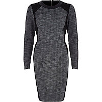 Grey contrast panel bodycon long sleeve dress
