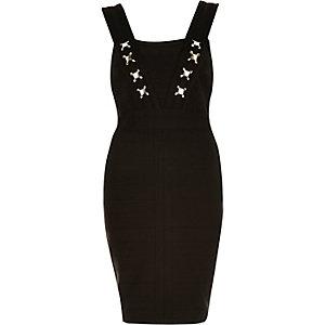 Black bandage bodycon gem embellished dress