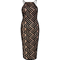 Black double strap bodycon dress