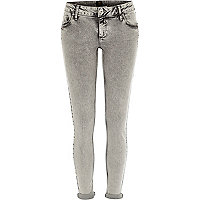 Grey acid wash turn up Cara superskinny jeans
