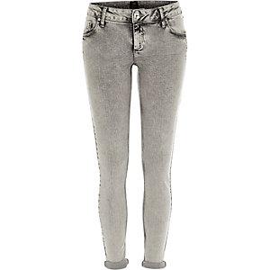 Grey acid wash turn up Cara superskinny jeans